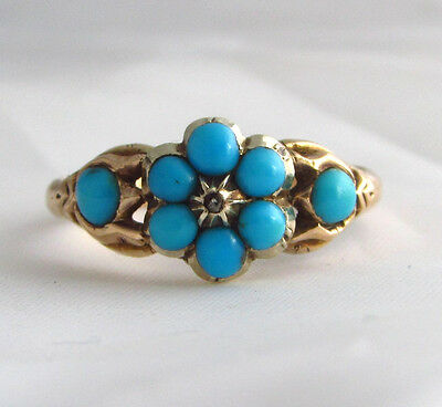 Old antique Victorian 18ct gold mourning daisy ring with turquoise stones size K