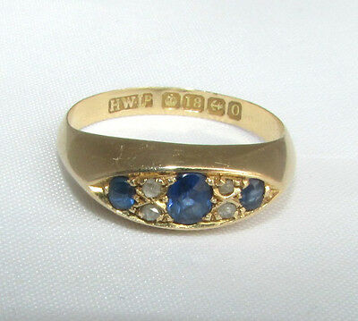Old antique Edwardian 18ct gold diamond & sapphire ring size M Birmingha 1913-14