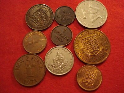 9 Channel Island Coins 1830 - 1971