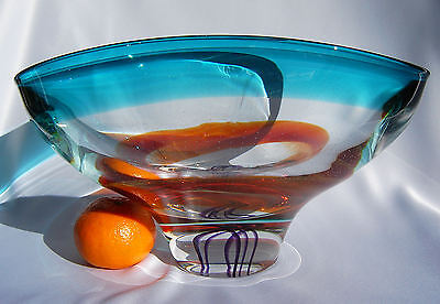 Very Heavy Art Glass Bowl with Bubbles