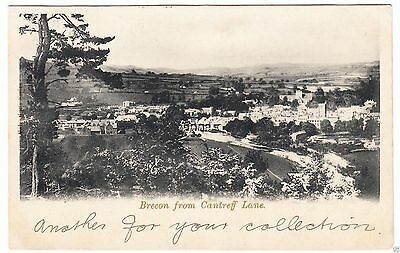 BRECON FROM CANTREFF LANE -  Wales -  c1900s era used postcard