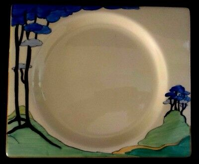 """CLARICE CLIFF """"Blue Firs""""   18.5 cm x 15 .5 CM PLATE"""