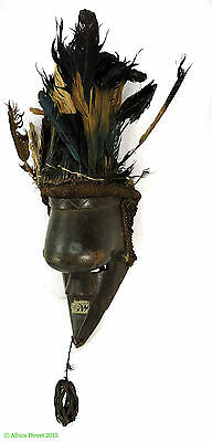 Salampasu Mask with Feather Headdress Congo African Art SALE WAS $450