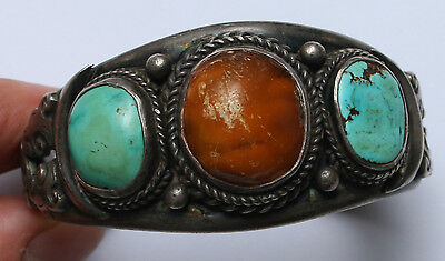 Antique TIBETAN Turquoise and Amber SILVER BRACELET 19th-20th century
