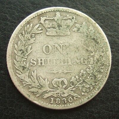 1880 VICTORIA YOUNG HEAD SHILLING : BRITISH .9250 STERLING SILVER COIN ...b51