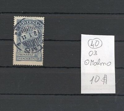 Sweden 1903 Used 5 kroonen stamps.Malmo Cancel.See scan.