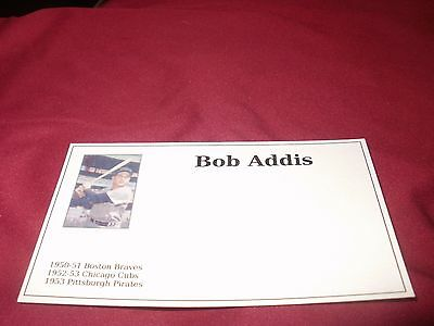 Bob Addis, Pittsburgh Pirates 1953 , Signed Index  Card (signed on rear)
