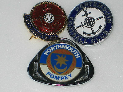 3 Vintage PORTSMOUTH FOOTBALL CLUB BADGES
