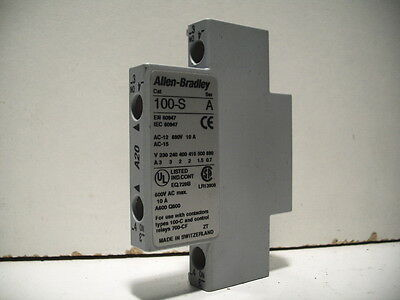 Allen-Bradley 100-Sa20 Auxiliary Contact Block, Side Mount 2 N.o. Quantity!!
