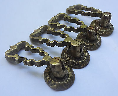 Lot 4 Original Antique Solid Brass Pull handles+ Backplates # Free Shipping