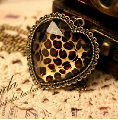 Fashion Charm jewelry Leopard Heart vintage long Pendant Chain Necklace N73