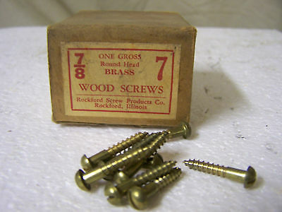 """7 x 7/8"""" Brass Wood Screws Round Head Solid Brass Slotted Made in USA Qty. 140"""