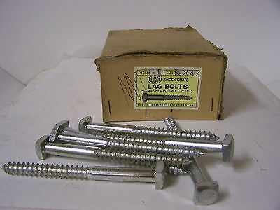 "3/8"" x 4 1/2""  Square Head Lag Bolts Zinc Chromate Gimlet Point  Qty.25"