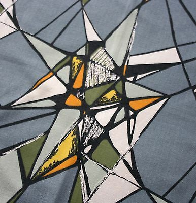 Vintage 1960s GEOMETRIC / ABSTRACT ART Single Curtain...