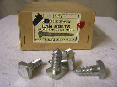 "3/8"" x 1"" Square Head Lag Bolts Zinc Chromate Gimlet Point - Qty 25"
