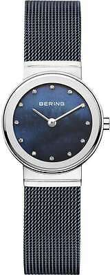 Bering Time - Classic -Ladies Silver Plated & Blue Milanese Mesh Watch Swarovski