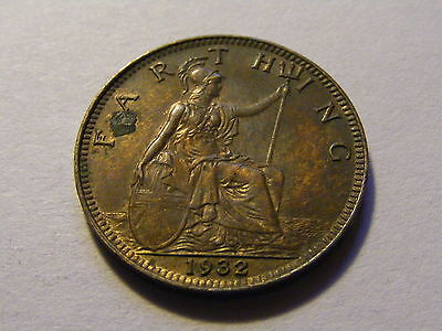 1932 George V Farthing Coin  - Some Lustre