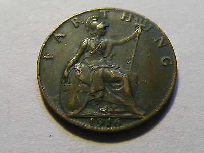 1916 George V Farthing Coin  -