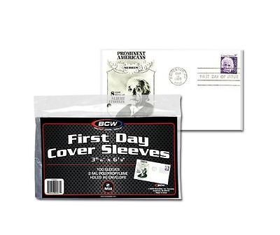 """(300) BCW 1st First Day Cover Sleeves #6 Envelope Size 3 15/16"""" x 6 7/8"""" Poly"""