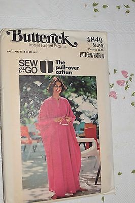 1970s Vintage Pull Over Caftan One Size Pattern Butterick 4840 UNCUT