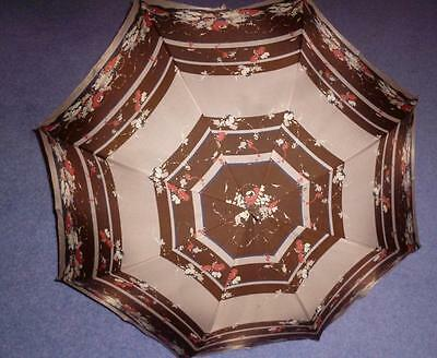 VINTAGE 1960's M&S NYLON/FLORAL MOTIFS LADIES UMBRELLA