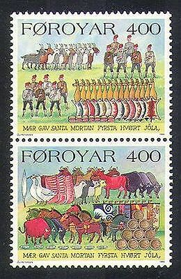 Faroes 1994 Christmas/Greetings/Cattle/Horses/Geese/Goats/Animals 2v pr (n37315)
