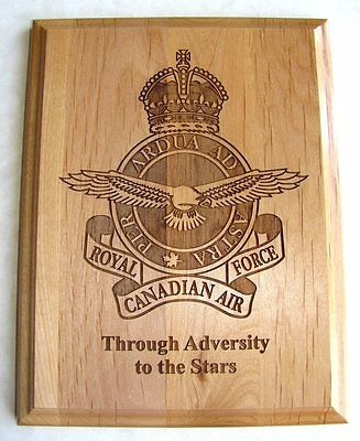 CANADA  RCAF Royal Canadian Air Force  Engraved Wooden Plaque KC 1939 - 1952