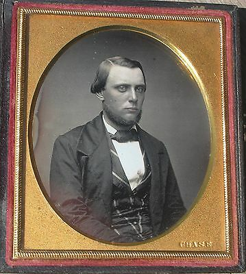 """Daguerreotype Young Man by """"Chase"""", Original Seals"""