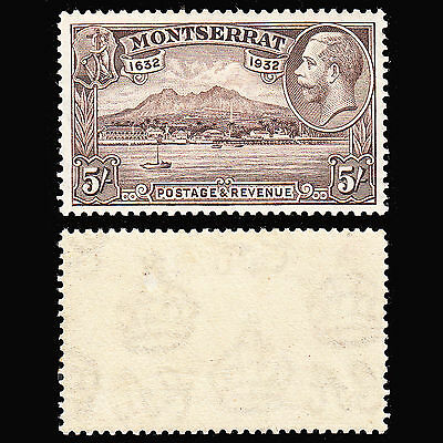 Montserrat KGV 1932 Tercentenary 5/- superb mint lightly hinged SG 93 CV £110