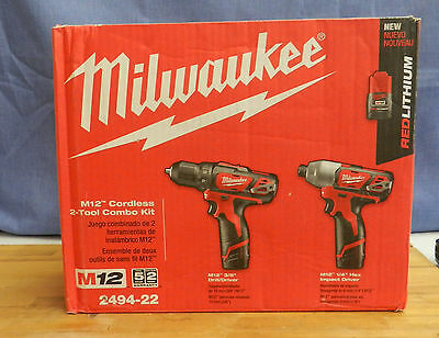 Milwaukee M12 12-Volt Lithium-Ion Power Tool Combo Kits Model 2494-22-2592-20