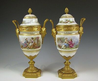 Pair of Hand Painted French Porcelain Urns Artist sgn E Lillien Faux Sevres Mark
