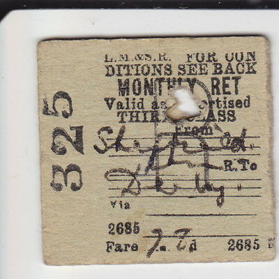 Sheffield to Derby - 3rd Class Monthly Return - LM&SR - Dated 1942