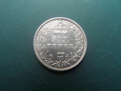 1887 Queen Victoria  Silver Sixpence. V,f.
