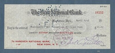 Check from First National Bank of Meeteetse, Wyoming, 1922
