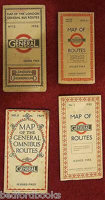 4 Maps of General Bus Routes 1926, 1929, 1932, 1933-34