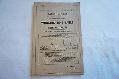 1965 BR Working Timetable Southern South Western Division Section D Freight