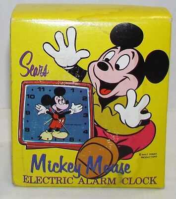 Vintage Sears Mickey Mouse Electric Alarm Clock, empty box