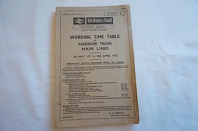 1971 BR Working Timetable Southern Region South Western Division Section J