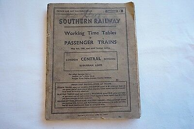 1946 Southern Railway Working Timetable London Central Division Section B
