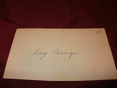 Autograph Ray Benge Index Card-Pitcher From 1925-1938