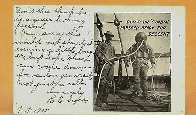1905 Ocean Diver Dressed in Gear Searching Wreck Scandia Off NY
