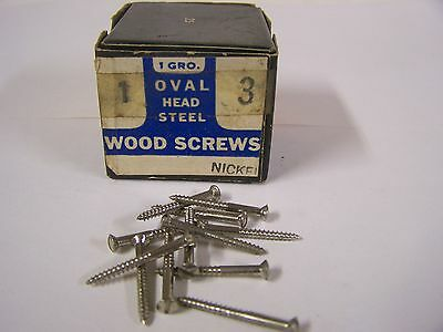 "#3 x 1"" Round Head Nickel Plated Steel Screws Slotted Made in USA Qty.90"