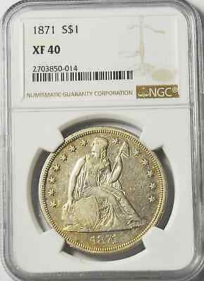 1871 $1 Seated Liberty Silver One Dollar NGC XF40 Philadelphia Rare