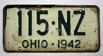 Vintage 1942 Original OHIO License Plate 115-NZ
