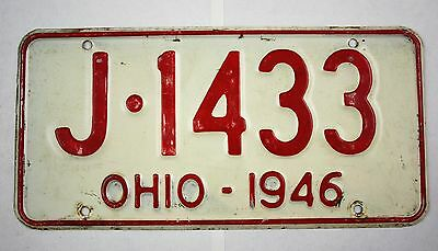 Vintage 1946 Original OHIO License Plate J-1433