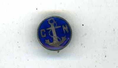 Old C.n.  Naval Unmarked Silver Button Hole Badge