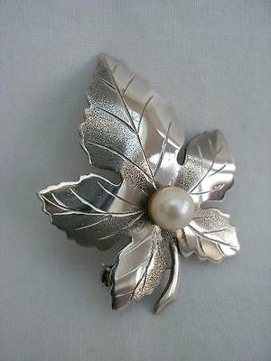 Exquisite Pearl Mounted Sterling Silver Leaf Brooch Birmingham 1977