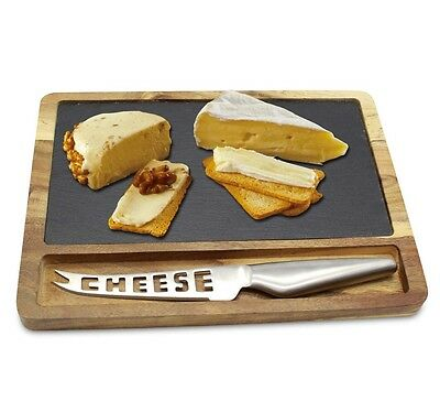 3 Piece Acacia Wood Natural Slate Food Cheese Board Plate Slicer Set Gift Lover