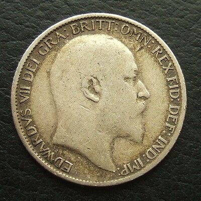 1907 EDWARD VII SIXPENCE : BRITISH .9250 STERLING SILVER COIN ...b31
