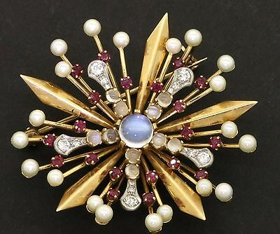 Vintage 1940s 14K gold 4.45CTW diamond/ruby/moonstone/pearl starburst brooch